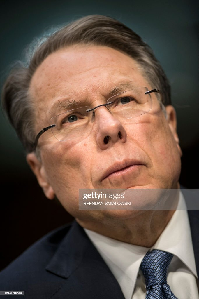 Wayne LaPierre, Chief Executive Officer of the National Rifle Association(NRA), listens during a hearing of the Senate Judiciary Committee on Capitol Hill January 30, 2013 in Washington, DC. The committee held the hearing with retired Astronaut Mark Kelly, husband of former Rep. Gabrielle Giffords, Wayne LaPierre, Chief Executive Officer of the National Rifle Association, and others to testify about solutions to gun violence in the United States. AFP PHOTO/Brendan SMIALOWSKI