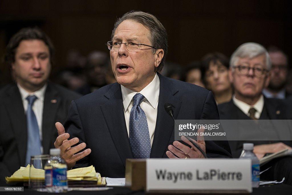 Wayne LaPierre, Chief Executive Officer of the National Rifle Association, speaks during a hearing of the Senate Judiciary Committee on Capitol Hill January 30, 2013 in Washington, DC. The committee held the hearing with retired Astronaut Mark Kelly, husband of former Rep. Gabrielle Giffords, Wayne LaPierre, Chief Executive Officer of the National Rifle Association, and others to testify about solutions to gun violence in the United States. AFP PHOTO/Brendan SMIALOWSKI