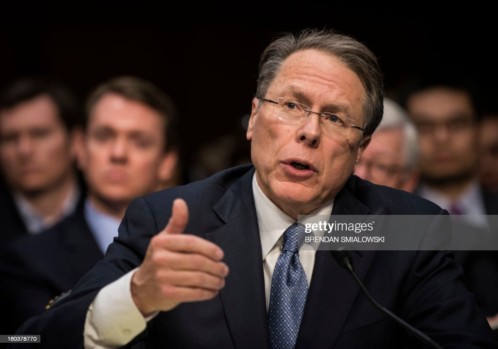 Wayne LaPierre, Chief Executive Officer of the National Rifle Association(NRA), speaks during a hearing of the Senate Judiciary Committee on Capitol Hill January 30, 2013 in Washington, DC. The committee held the hearing with retired Astronaut Mark Kelly, husband of former Rep. Gabrielle Giffords, Wayne LaPierre, Chief Executive Officer of the National Rifle Association, and others to testify about solutions to gin violence in the United States. AFP PHOTO/Brendan SMIALOWSKI