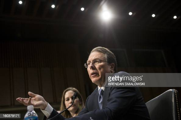 Wayne LaPierre Chief Executive Officer of the National Rifle Association speaks during a hearing of the Senate Judiciary Committee on Capitol Hill...