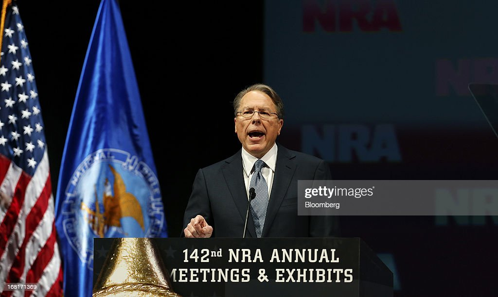 Wayne LaPierre, chief executive officer of the National Rifle Association (NRA), speaks during the 2013 NRA Annual Meetings & Exhibits at the George R. Brown Convention Center in Houston, Texas, U.S., on Saturday, May 4, 2013. After the U.S. Senate defeated a proposed expansion of background checks on gun purchases, the NRA's annual conference has a celebratory atmosphere. Yet as the festivities began, gun-control advocates swarmed town halls, organizing petitions and buying local ads to pressure senators from Alaska to New Hampshire to reconsider the measure that failed by six votes on April 17. Photographer: Aaron M. Sprecher/Bloomberg via Getty Images