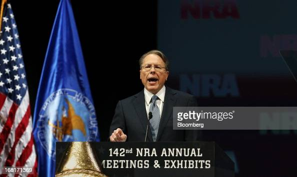 Wayne LaPierre chief executive officer of the National Rifle Association speaks during the 2013 NRA Annual Meetings Exhibits at the George R Brown...