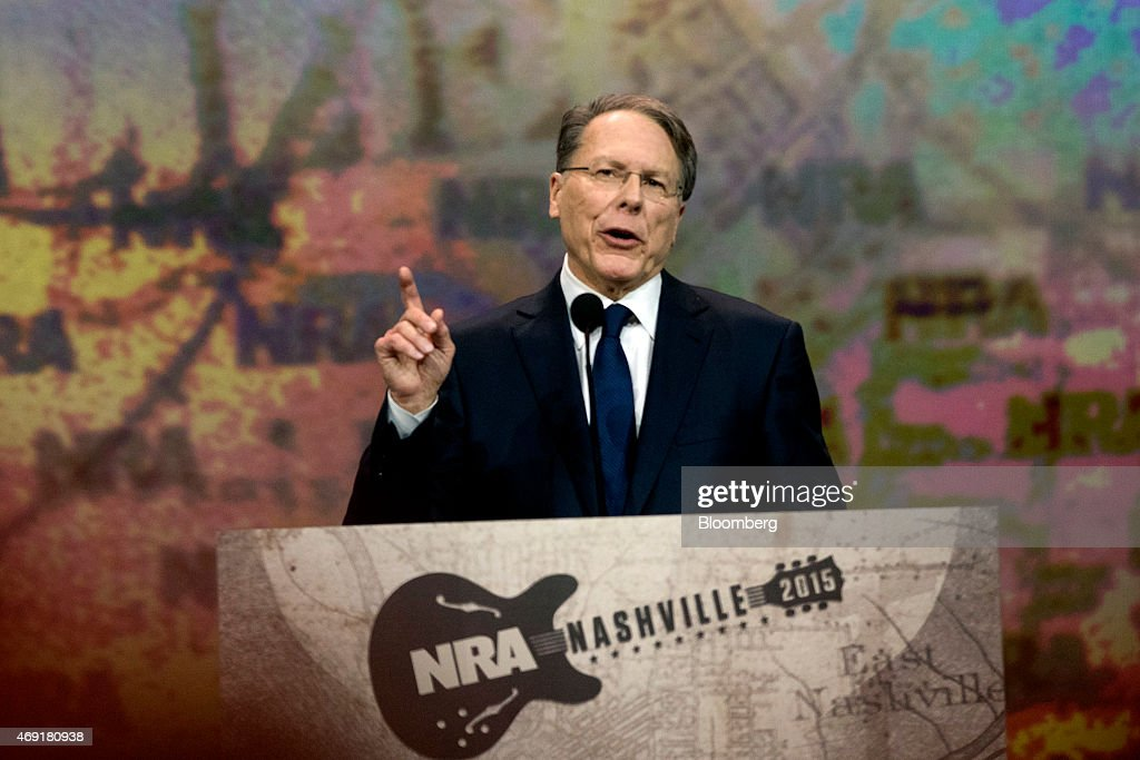 <a gi-track='captionPersonalityLinkClicked' href=/galleries/search?phrase=Wayne+LaPierre&family=editorial&specificpeople=2488494 ng-click='$event.stopPropagation()'>Wayne LaPierre</a>, chief executive officer of the National Rifle Association (NRA), speaks during the Leadership Forum at the 144th National Rifle Association (NRA) Annual Meetings and Exhibits at the Music City Center in Nashville, Tennessee, U.S., on Friday, April 10, 2015. Top Republican contenders for their party's 2016 presidential nomination are lining up to speak at the annual NRA event, except New Jersey Governor Chris Christie and Kentucky Senator Rand Paul who were snubbed by the country's largest and most powerful gun lobby. Photographer: Daniel Acker/Bloomberg via Getty Images