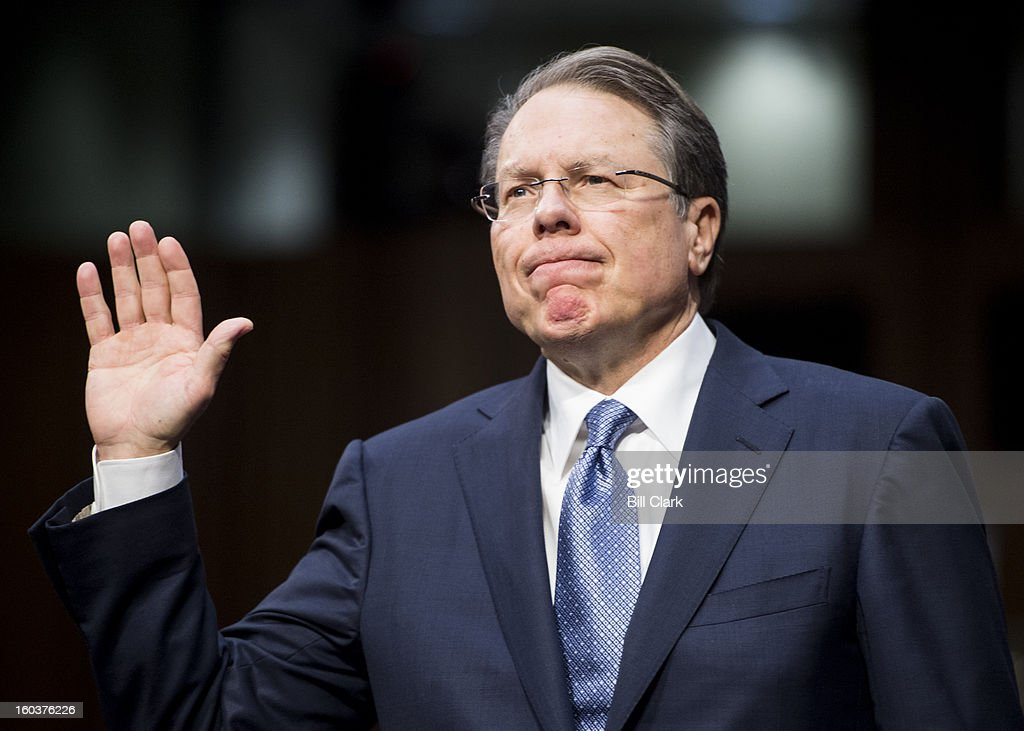 Wayne LaPierre, executive vice president and CEO of the National Rifle Association, is sworn in before testifying during the Senate Judiciary Committee hearing on 'What Should America Do About Gun Violence?' on Wednesday, Jan. 30, 2013.
