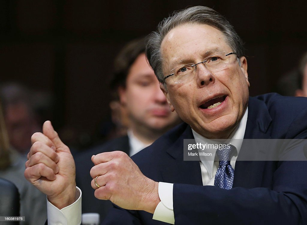 Wayne LaPierre, Executive Vice President and CEO of the National Rifle Association, testifiesduring a Senate Judiciary Committee hearing on gun violence, January 30, 2013 in Washington, DC. The committee is hearing testimony on what can be done to curb gun violence in America.