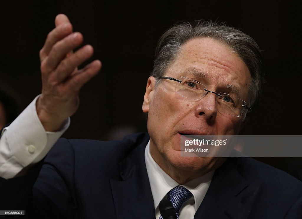 Wayne LaPierre, Executive Vice President and CEO of the National Rifle Association, testifies during a Senate Judiciary Committee hearing on gun violence, January 30, 2013 in Washington, DC. The committee is hearing testimony on what can be done to curb gun violence in America.