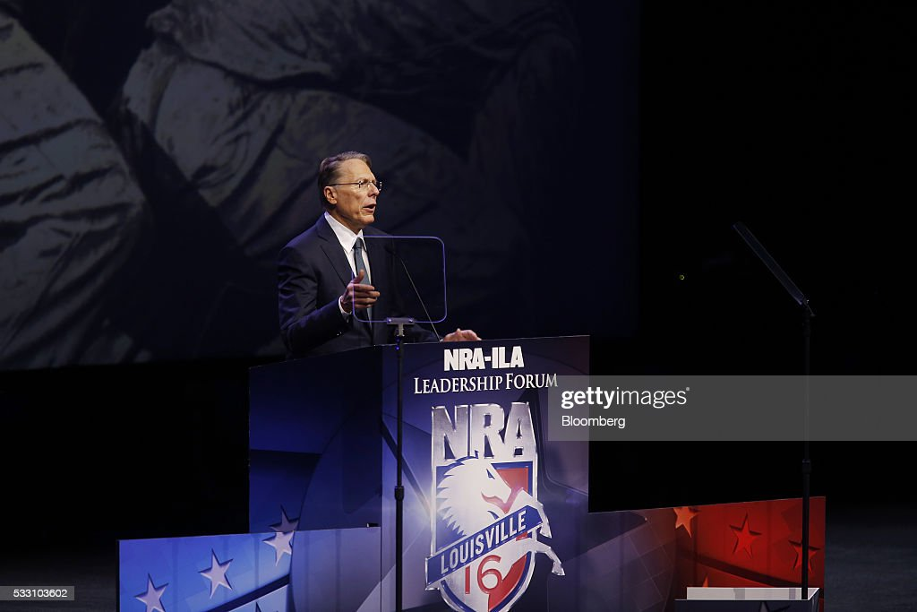 <a gi-track='captionPersonalityLinkClicked' href=/galleries/search?phrase=Wayne+LaPierre&family=editorial&specificpeople=2488494 ng-click='$event.stopPropagation()'>Wayne LaPierre</a>, executive vice president of the National Rifle Association (NRA), speaks during the NRA annual meeting in Louisville, Kentucky, U.S., on Friday, May 20, 2016. Presumptive Republican presidential nominee Donald Trump, who in the past called for restrictions on certain weapons purchases, announced his a plan in September for a national right-to-carry law and called gun and magazine bans 'a total failure.' Photographer: Luke Sharrett/Bloomberg via Getty Images