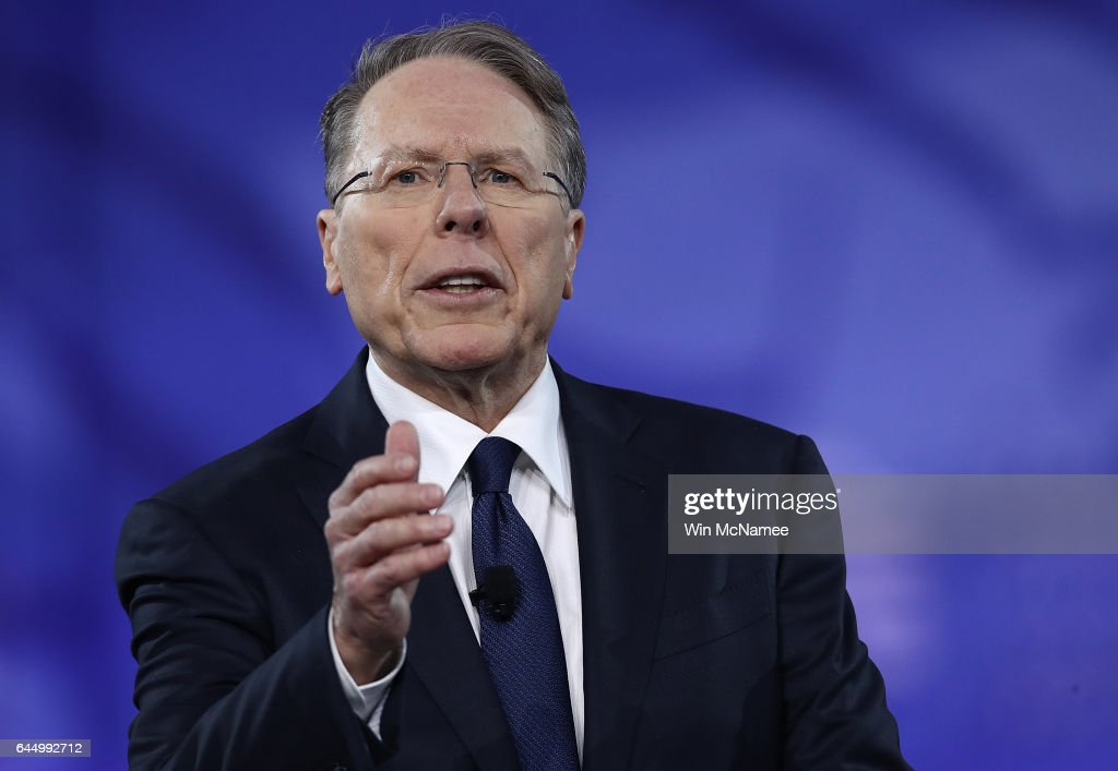 Wayne LaPierre, Executive Vice President of the National Rifle Association, addresses the Conservative Political Action Conference at the Gaylord National Resort and Convention Center February 24, 2017 in National Harbor, Maryland. Hosted by the American Conservative Union, CPAC is an annual gathering of right wing politicians, commentators and their supporters.
