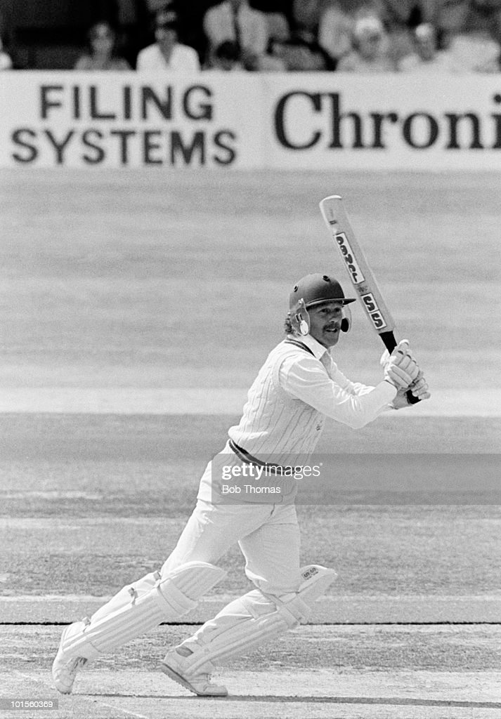 Wayne Larkins batting for Northamptonshire against Kent during their John Player League cricket match held at The County Ground, Northampton on 27th July 1986. Northamptonshire won by 100 runs. (Bob Thomas/Getty Images).