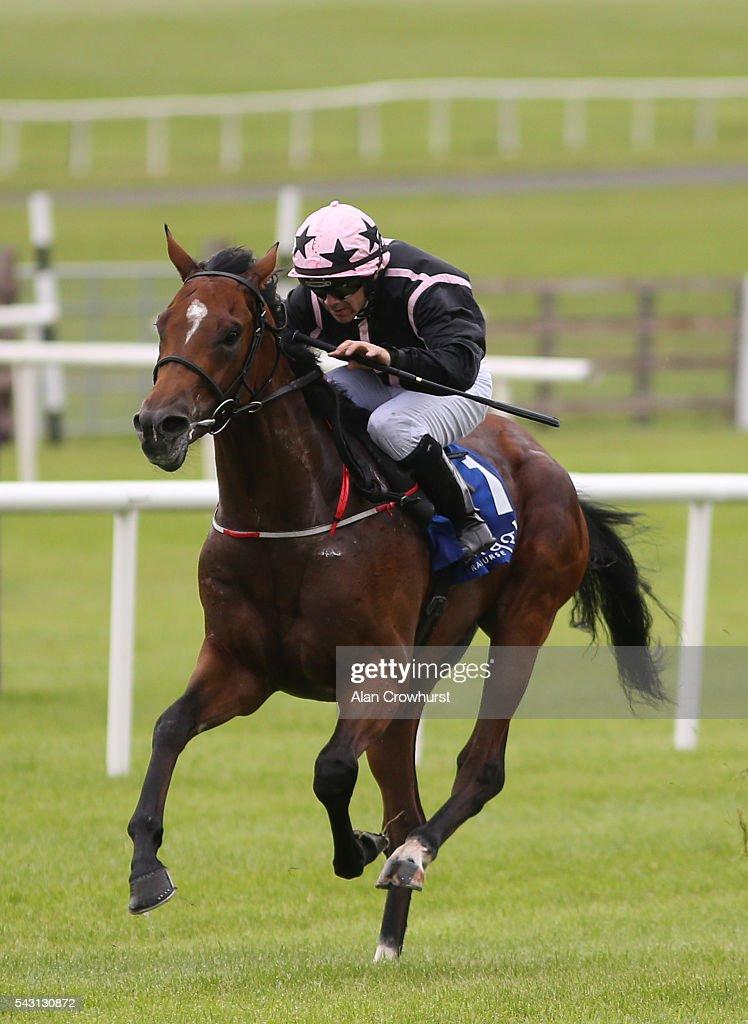 Wayne Lordan riding Alexios Komnenos win The Barronstown Stud EBF Maiden at Curragh Racecourse on June 26, 2016 in Kildare, Ireland.