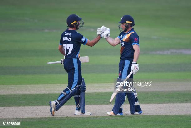 Wayne Madsen and Gary Wilson of Derbyshire Falcons celebrates after they win the NatWest T20 Blast match between Worcestershire Rapids and Derbyshire...