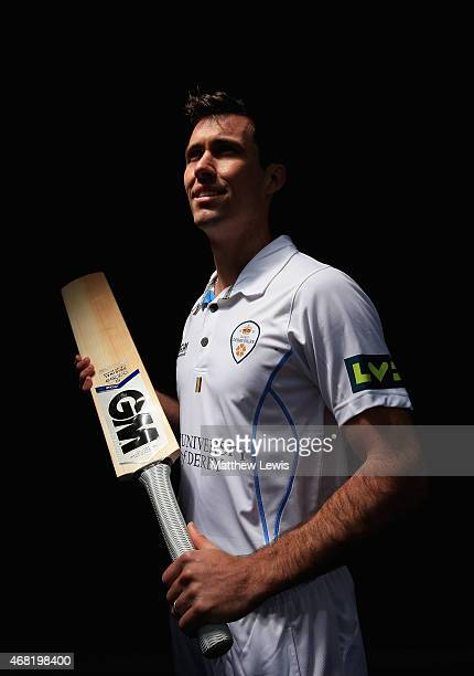 Wayne Madsen Captain of Derbyshire pictured during a Derbyshire CCC Photocall at The 3aaa County Ground on March 31 2015 in Derby England