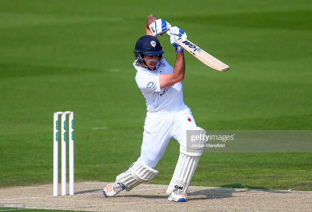 Wayne Madsen of Derbyshire bats during day one of the Specsavers County Championship Division Two match between Sussex and Derbyshire at The 1st Central County Ground on May 28, 2016 in Hove, England.