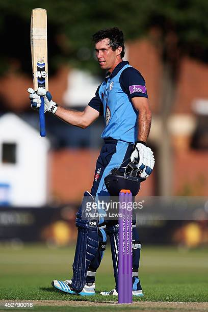 Wayne Madsen of Derbyshire celebrates his century during the Royal London One Day Cup match between Leicestershire Foxes and Derbyshire Falcons at...