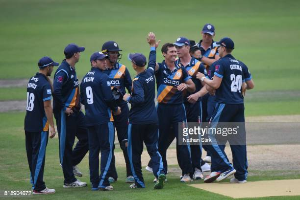 Wayne Madsen of Derbyshire celebrates with his team mates during the NatWest T20 Blast match between Worcestershire Rapids and Derbyshire Falcons at...