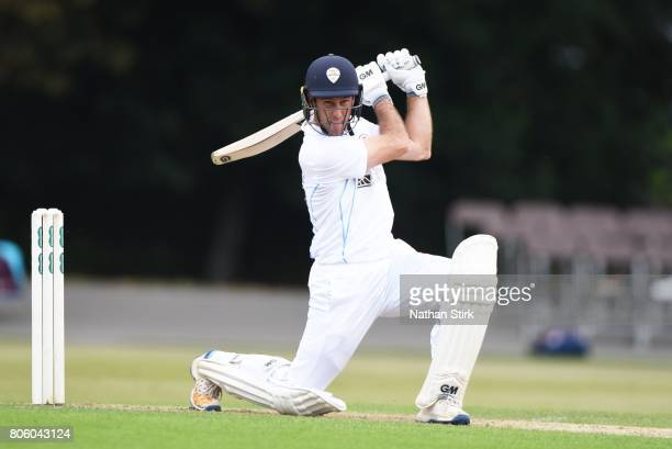 Wayne Madsen of Derbyshire drives the ball during the Specsavers County Championship Division Two match between Derbyshire and Durham at Queen's Park...