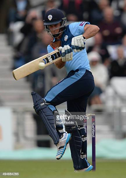 Wayne Madsen of Derbyshire Falcons during their Natwest T20 Blast between Yorkshire Vikings and Derbyshire Falcons at Headingley on May 30 2014 in...