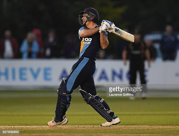 Wayne Madsen of Derbyshire hits out during the NatWest T20 Blast match between Derbyshire Falcons and Leicestershire Foxes at The County Ground on...
