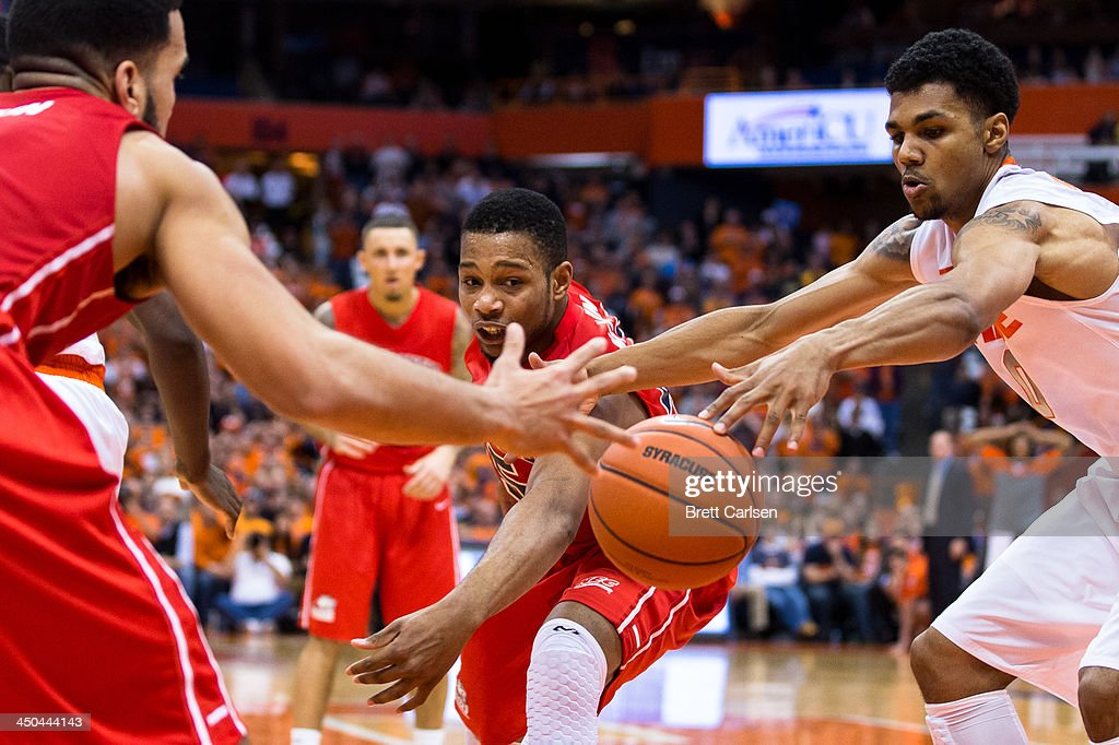 Wayne Martin #45 of St Francis Terriers is called for a double dribble while attacking the basket in the second half against Syracuse Orange on November 18, 2013 at the Carrier Dome in Syracuse, New York. Syracuse wins 56-50.