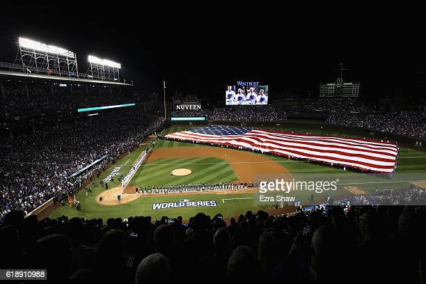 Wayne Messmer sings 'God Bless America' before Game Three of the 2016 World Series between the Chicago Cubs and the Cleveland Indians at Wrigley...
