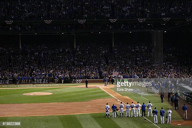 Wayne Messmer sings the national anthem before Game Five of the 2016 World Series between the Chicago Cubs and the Cleveland Indians at Wrigley Field...