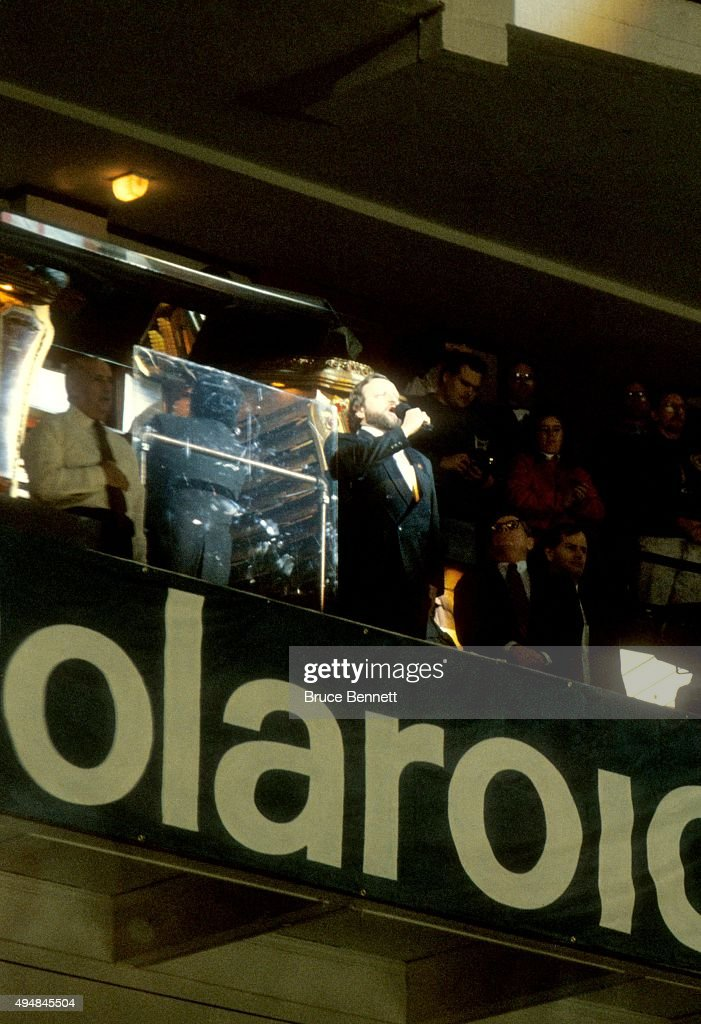 Wayne Messmer sings the National Anthem prior to the 1991 42nd NHL AllStar Game between the Wales Conference and the Campbell Conference on January...