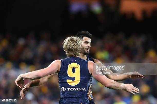 Wayne Milera of the Crows celebrates a goal during the round 10 AFL match between the Adelaide Crows and the Fremantle Dockers at Adelaide Oval on...