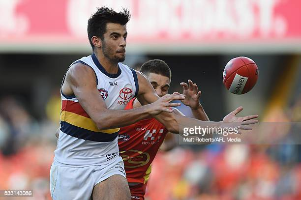 Wayne Milera of the Crows competes for the ball during the round nine AFL match between the Gold Coast Suns and the Adelaide Crows at Metricon...