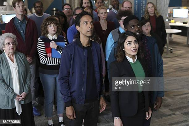 POWERLESS 'Wayne or Lose' Episode 102 Pictured Danny Pudi as Teddy Vanessa Hudgens as Emily Ron Funches as Ron