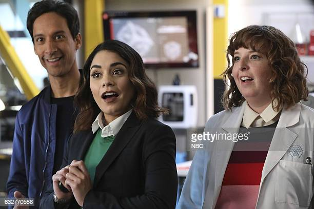 POWERLESS 'Wayne or Lose' Episode 102 Pictured Danny Pudi as Teddy Vanessa Hudgens as Emily Jenni Pierson as Wendy