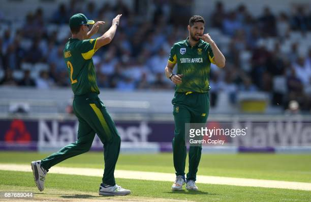 Wayne Parnell of South Africa celebrates dismissing Jason Roy of England during the 1st Royal London ODI match between England and South Africa at...