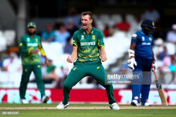 Wayne Parnell of South Africa celebrates dismissing Seekkuge Prasanna of Sri Lanka during the ICC Champions Trophy match between Sri Lanka and South...
