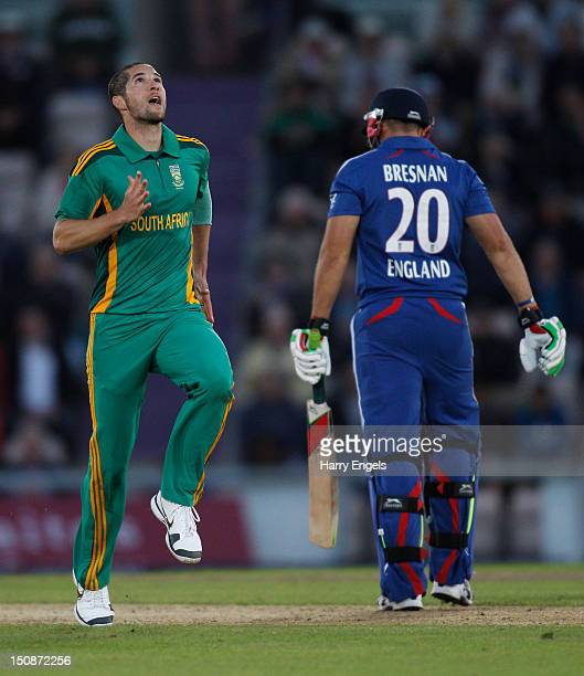 Wayne Parnell of South Africa celebrates dismissing Tim Bresnan of England during the 2nd NatWest Series ODI match between England and South Africa...