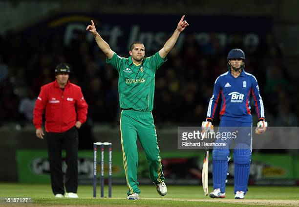 Wayne Parnell of South Africa celebrates the wicket of Michael Lumb during the 3rd NatWest International T20 between England and South Africa at...
