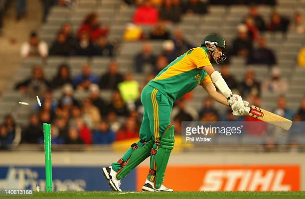 Wayne Parnell of South Africa is bowled by Andrew Ellis of New Zealand during the One Day International match between New Zealand and South Africa at...