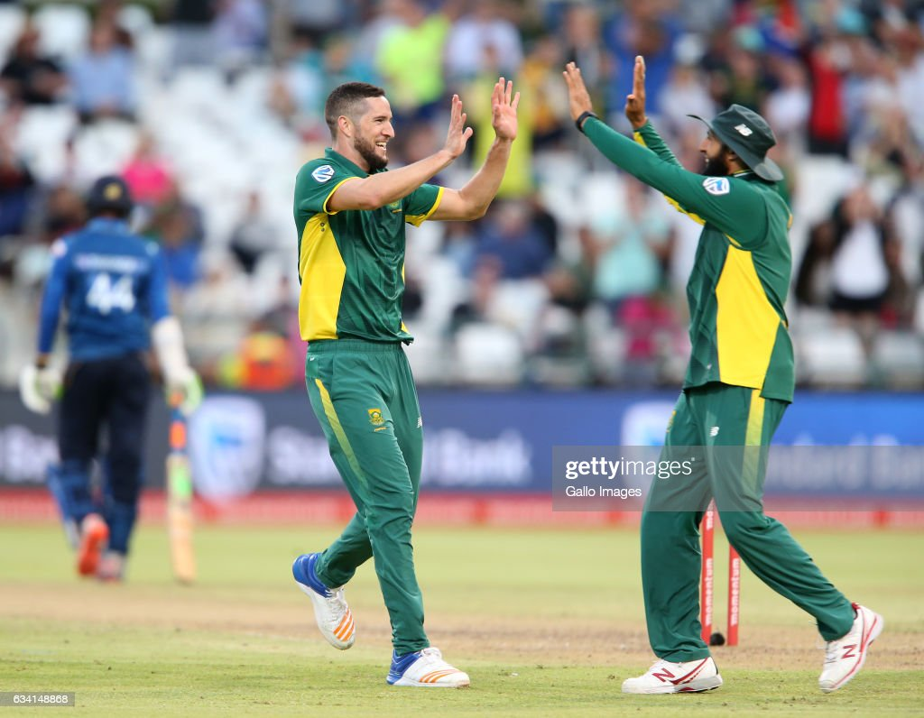 Wayne Parnell of the Proteas celebrates during the 4th ODI between South Africa and Sri Lanka at PPC Newlands on February 07, 2017 in Cape Town, South Africa.