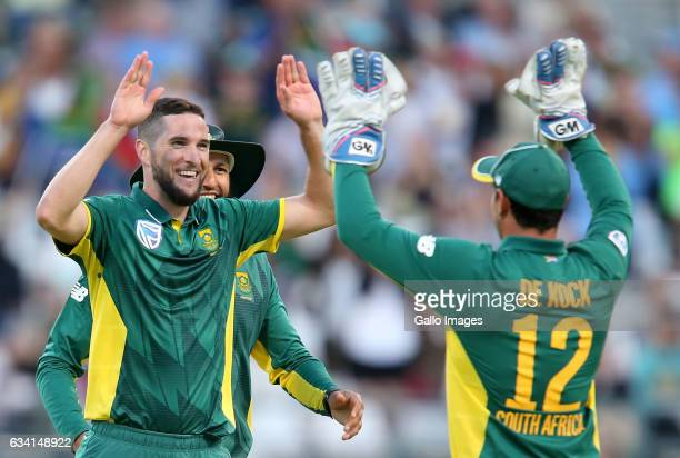 Wayne Parnell of the Proteas celebrates during the 4th ODI between South Africa and Sri Lanka at PPC Newlands on February 07 2017 in Cape Town South...