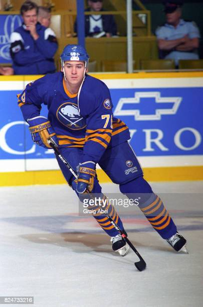 Wayne Primeau of the Buffalo Sabres skates in warmup prior to a game against the Toronto Maple Leafs during NHL preseason action on October 2 1995 at...