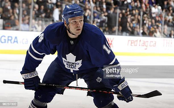 Wayne Primeau of the Toronto Maple Leafs gets ready for a faceoff during the game against the Los Angeles Kings on January 26 2010 at the Air Canada...