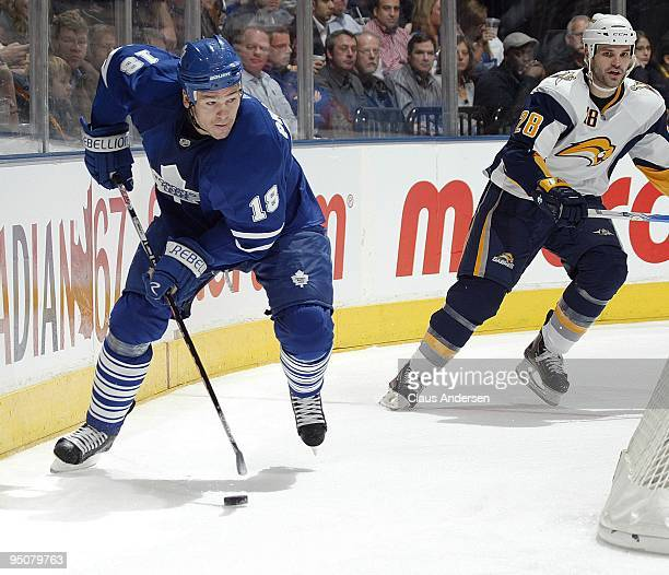 Wayne Primeau of the Toronto Maple Leafs looks to make a pass in a game against the Buffalo Sabres on December 21 2009 at the Air Canada Centre in...