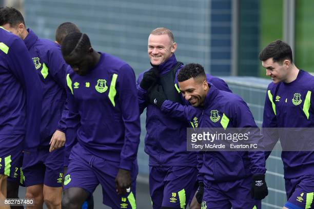 Wayne Rooney Aaron Lennon and Michael Keane of Everton enjoy a joke during the Everton training session at USM Finch Farm on October 18 2017 in...
