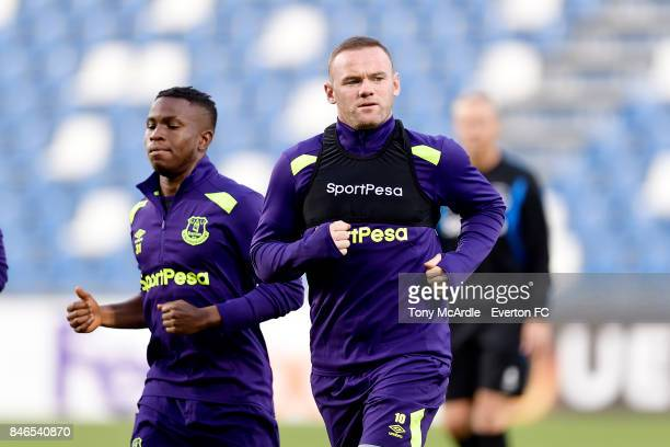 Wayne Rooney and Ademola Lookman during an Everton training session on the eve of their UEFA Europa League group E match against Atalanta at Mapei...