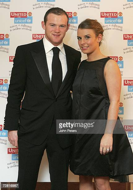 Wayne Rooney and girlfriend Coleen McLoughin pose ahead of the annual United for Unicef charity dinner at Old Trafford on December 13 2006 in...