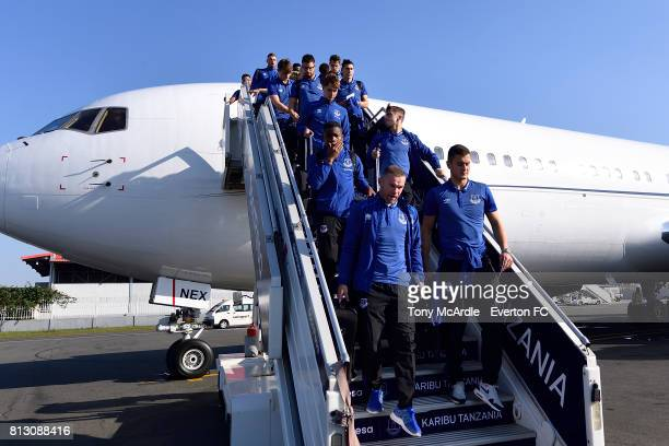 Wayne Rooney and his Everton teammates arrive in DarEsSalaam on July 12 2017 in Halewood England