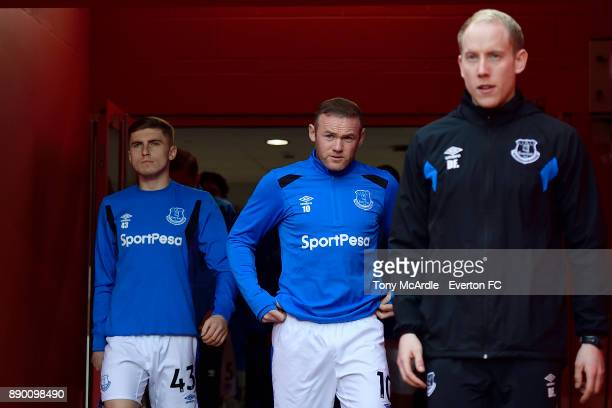 Wayne Rooney and Jonjoe Kenny Everton before the Premier League match between Liverpool and Everton at Anfield on December 10 2017 in Liverpool...