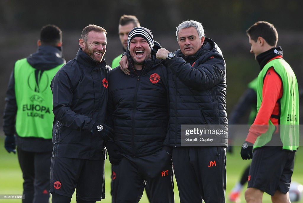 Wayne Rooney and Jose Mourinho manager of Manchester United joke with the team sports therapist Rod Thornley (C) during a Manchester United training session on the eve of their UEFA Europa League match against Feyenoord at Aon Training Complex on November 23, 2016 in Manchester, England.