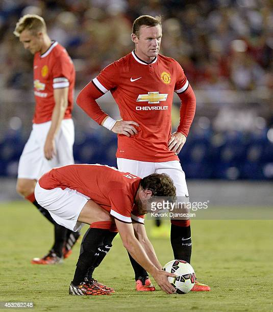 Wayne Rooney and Juan Mata of Manchester United during the preseason friendly match between Los Angeles Galaxy and Manchester United at the Rose Bowl...