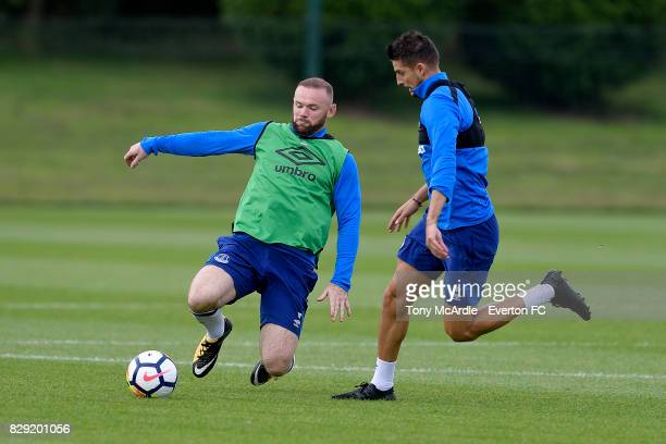 Wayne Rooney and Kevin Mirallas during the Everton FC training session at USM Finch Farm on August 10 2017 in Halewood England