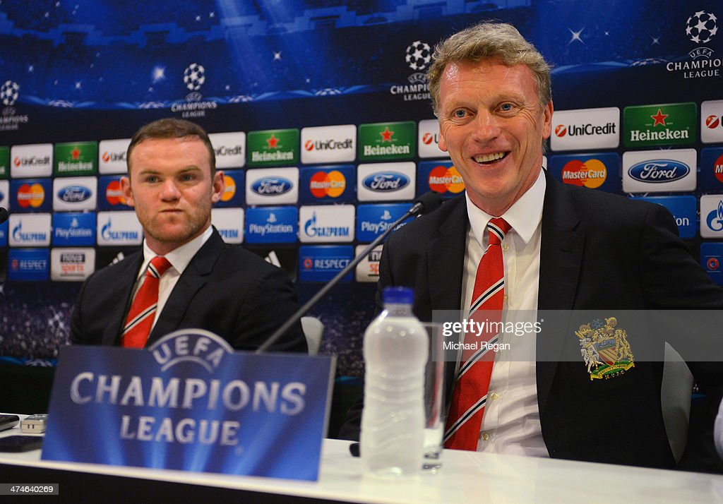 <a gi-track='captionPersonalityLinkClicked' href=/galleries/search?phrase=Wayne+Rooney&family=editorial&specificpeople=157598 ng-click='$event.stopPropagation()'>Wayne Rooney</a> and manager <a gi-track='captionPersonalityLinkClicked' href=/galleries/search?phrase=David+Moyes&family=editorial&specificpeople=215482 ng-click='$event.stopPropagation()'>David Moyes</a> speak to the media during the Manchester United press conference at Karaiskakis Stadium on February 24, 2014 in Piraeus, Greece.
