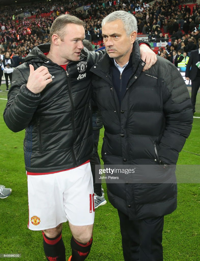 Wayne Rooney and Manager Jose Mourinho of Manchester United celebrate after the EFL Cup Final match between Manchester United and Southampton at Wembley Stadium on February 26, 2017 in London, England.
